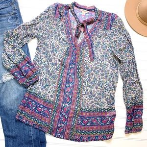 LUCKY BRAND boho colorful floral high neck top
